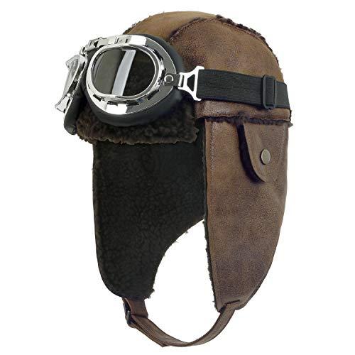 ililily Aviator Hat Winter Snowboard Fur Ear Flaps Trooper Trapper Pilot Goggles, Light Brown