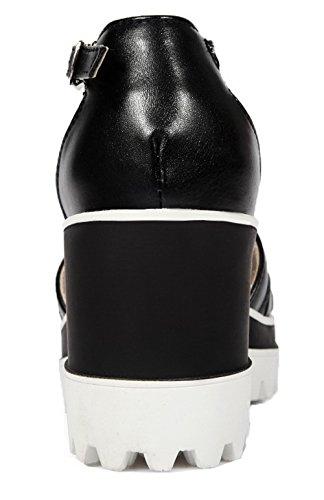Femme Unie Sandales TSFLG005063 à d'orteil AalarDom Couleur Haut Ouverture Noir Boucle Talon Xxpdq