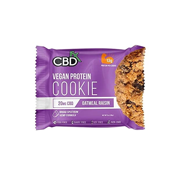 CBDfx Oatmeal Raisin Vegan Protein Cookie, 20 mg of CBD Oil