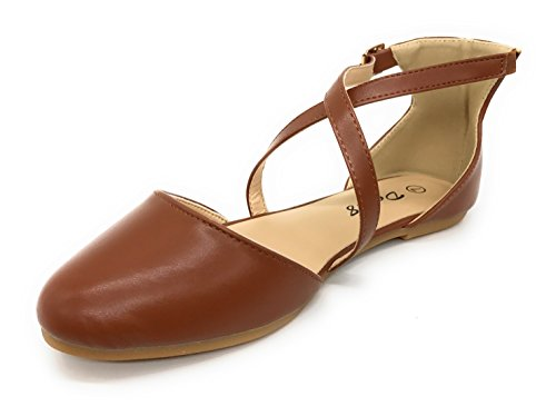 Blaue Berry EASY21 Frauen Casual Flats Ballett Knöchelriemen Mode Schuhe Braun73