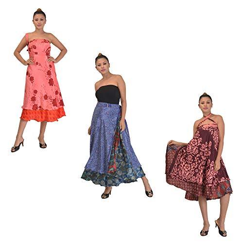 SalsaNights Combo of 3 Silk Sari Magic Wrap Skirts Reversible Printed Dress 2 Layered, Medium