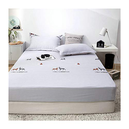 KFZ Rabbit Duck Bus Printed Fitted Sheet Bedsheet Bed Protector Without Pillowcases for Kids Single Double Bed ZF 1901 4 Sizes Love Flamingo Deer Designs 1PC (Deer Garden, 39