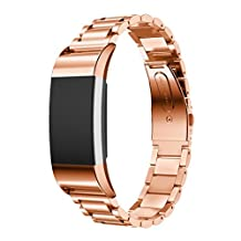 ABC Luxury Genuine Stainless Steel Bracelet Strap Smart Watch Band for Fitbit Charge 2 (Rose Gold)