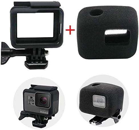 Rahmen Schutzgehäuse Gehäuse für GoPro Hero 7/6/5/Hero HD (2018), leegoal Frame Case and Windschussabbau Schaumstoffschutz für Optimale Audioaufnahme