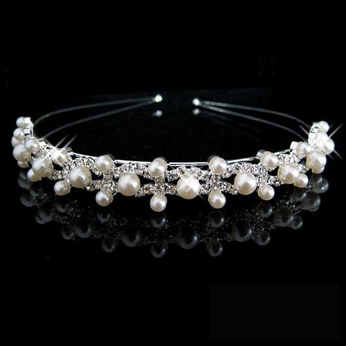 Tiara Hochzeitsfeier Brautjungfer Blumenmädchen Kristall Doppelte Perlenstirnband Krone