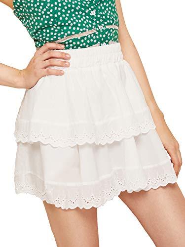 - WDIRARA Women's Floral Layered Ruffle Drawstring Boho A-Line Pleated Mini Skirt White S
