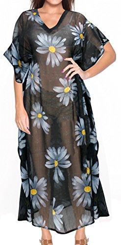 La Leela pure mousseline de soie noir imprimé florale longtemps tubes Kaftan Caftan