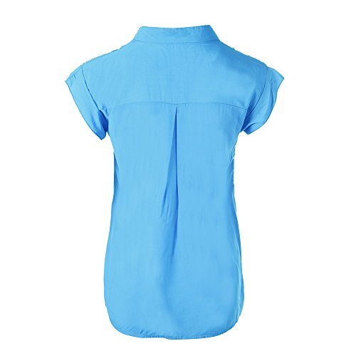 Youthny Bleu Courte T Couleur Casual Manche Femme Et Shirt Cotton Unie en 6rTWP6wq