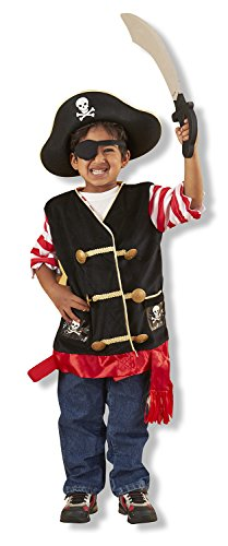 Melissa & Doug Pirate Role Play Costume Dress-Up Set With Hat, Sword, and Eye Patch - A Book Of Life Costume