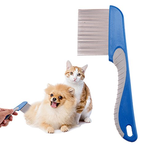 Pet Comb - 1 Piece Dog Comb Cats Hair Removal Single Row Straight Comb Puppy Hair Grooming Tool Stainless Steel 40 Pins Cleaning - RANDOM COLOR