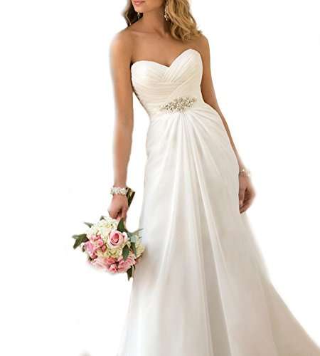 WeddingDazzle Women's Chiffon Beach Wedding Gowns Sweetheart Plus Size Wedding Dress14 White