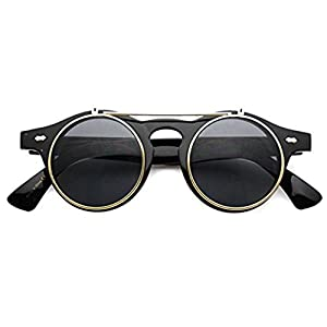 Flip up Cyber Steampunk Round Circle Retro Sunglasses