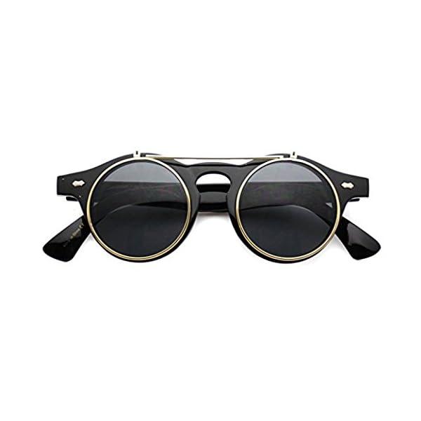 Flip up Cyber Steampunk Round Circle Retro Sunglasses 3