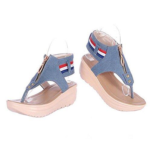 Angelliu Women Corean Casual Denim Flats Flip Flops Platform Sandals Light Blue aVoz0Jtu