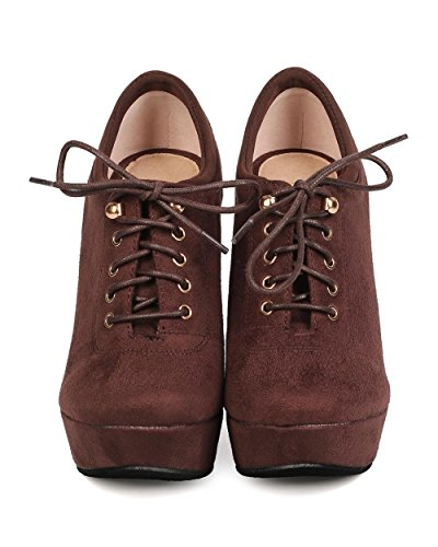 DbDk FB25 Women Faux Suede Lace Up Platform Wedge Bootie - Brown Md4th4lM