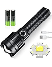 LED Tactical Flashlight,USB Rechargeable Super Bright Torch 5000 Lumens ,3 Modes and Zoomable, IP67 Waterproof, Powered by 18650 battery,High Lumens for Camping,Hiking,Outdoor,Running