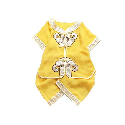 Lanlan Camisa de Manga Corta de Estilo Nacional para niños pequeños + Traje Corto 90 Amarillo Claro