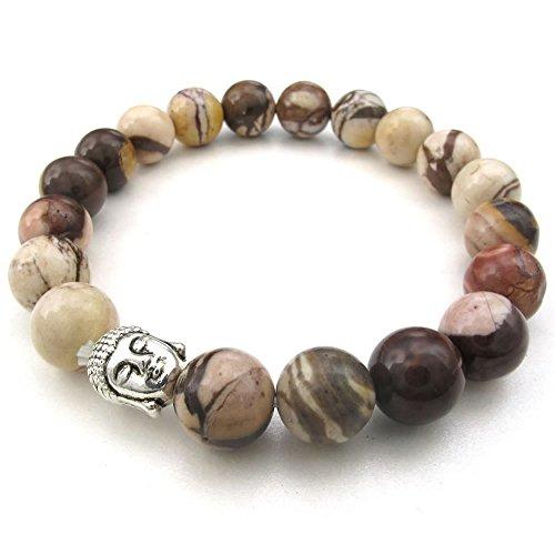 Buddha Bead Gem Bracelet (KONOV Natural Energy Stone Beads Gemstone Mens Womens Bracelet, 10mm Buddha Mala, Brown Silver)