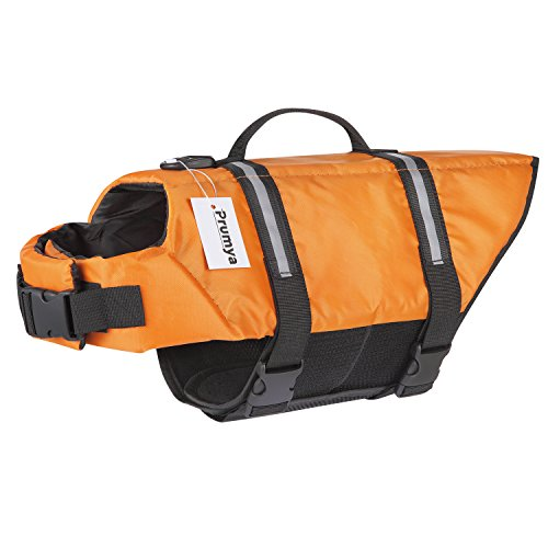 et Pet Life Vest Saver for Swimming Boating Dog Floatation Life Preserver Coat Safety Reflective Swimwear with Head Support Size Adjustable (L, Orange) (Pet Life Preserver)