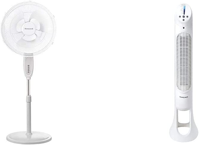 Honeywell Double Blade 16 Pedestal Fan White With Remote Control & Quiet Set Whole Room Tower Fan