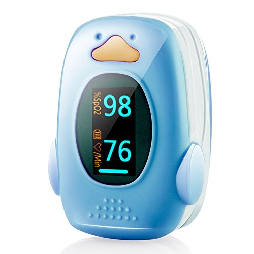 Children Fingertip Pulse Oximeter FDA Certified Pediatric pulsioximetro for Child Kids Baby (Blue)