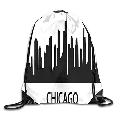 Unisex Drawstring Bag Gym Bags Storage Backpack,Chicago City Silhouette With Skyscrapers And Hight Buildings USA Urban Skyline