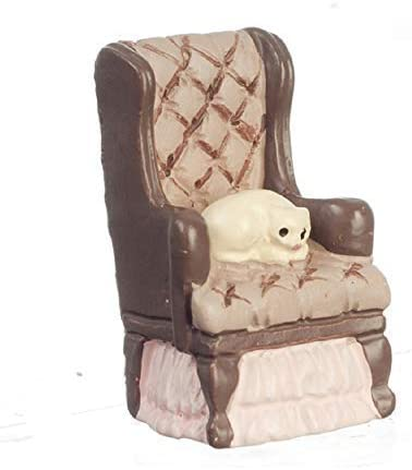 Dolls House Pink Armchair 1:48 Scale 1//4 inch Mini Living Room Furniture