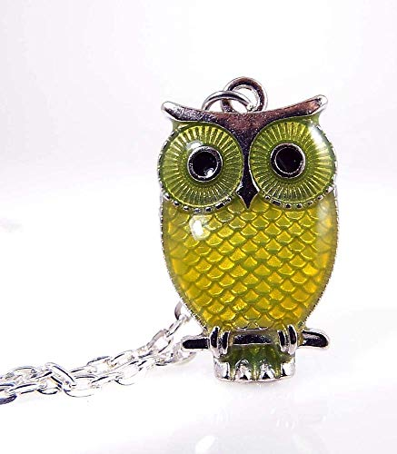 Owl Pendant Necklace Yellow Enamel and Metal with Silver Toned Chain