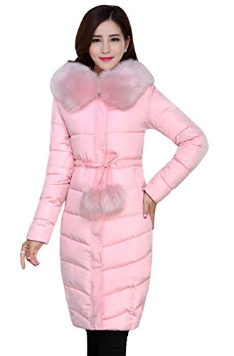 ACE SHOCK Winter Coat Women Plus Size, Faux Fur Hood Cotton Padded Parka Knee Length Long Jacket Thicken 4 Colors S-1X (US Size-S, Pink)