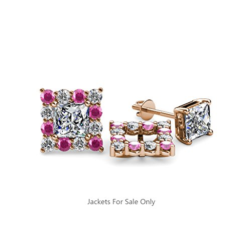 Pink Sapphire and Diamond Halo Jacket for Princess Cut Stud Earrings 0.74 ct tw in 14K Rose Gold