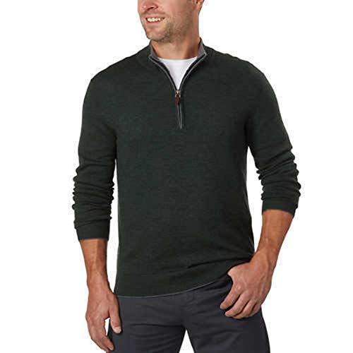 Kirkland Signature Men's Extra Fine Merino Wool ¼ Zip Sweater (M, Green)