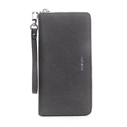 Women Leather Long Wallet (Gray) - 7