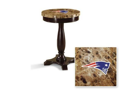 Round Top Espresso / Cappuccino Finish Night Stand End Table with Faux Marble Table Top Featuring Your Favorite Football Team Logo! (Patriots)