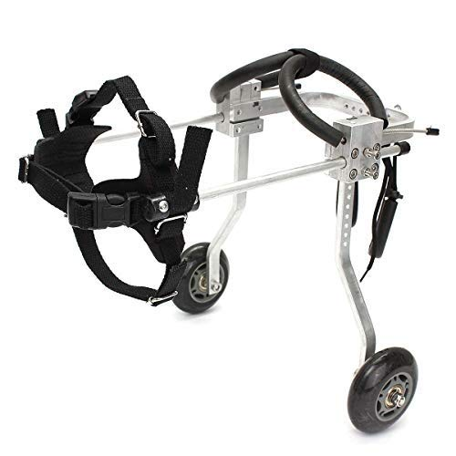 Pet Wheelchair Adjustable Hind Leg Sports Car Disabled Dog Assist Suitable for Small Dogs 2 Rounds by KJHFS