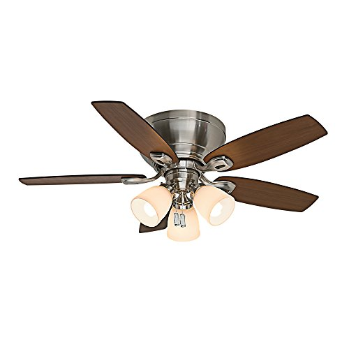 - Casablanca 53187 Durant 44-Inch Brushed Nickel Ceiling Fan with Five Walnut/Burnt Walnut Blades and Light Kit