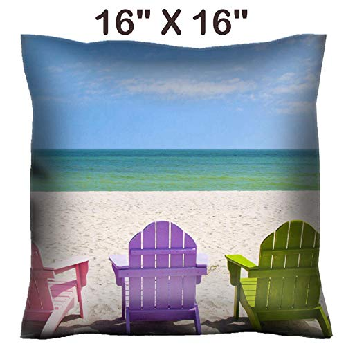 Adirondack Chair Satin - Liili 16x16 Throw Pillow Cover - Decorative Euro Sham Pillow Case Polyester Satin Soft Handmade Pillowcase Couch Sofa Bed Adirondack Beach Chairs on a Sun Beach in Front of a Holiday Vacation Travel