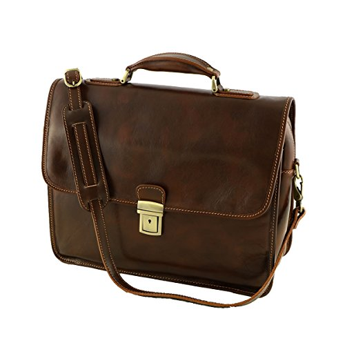 Aktentaschen Leder - 4006 Braun - Echtes Leder Tasche - Mega Tuscany