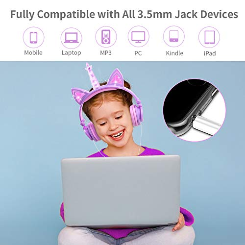 LOBKIN Kids Headphones,Unicorn Cat Ear Wired Foldable Headphones for Kids Over-Ear/On-Ear for Boys Girls, Adjustable 85dB Volume Control, Childrens Game Headphones for School/Tablet (Purple & Pink)