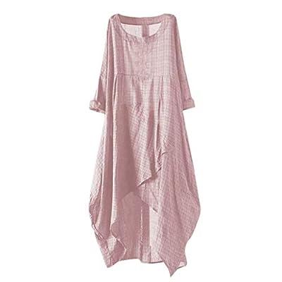 Yucode Women Solid O-Neck Short Sleeve Rolled Sleeve Irregular Hem Tunic Long Maxi Dress Casual Dresses