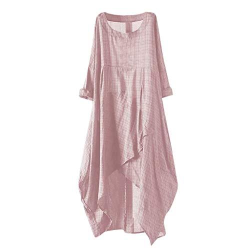 Yucode Women Solid O-Neck Short Sleeve Rolled Sleeve Irregular Hem Tunic Long Maxi Dress Casual Dresses Pink