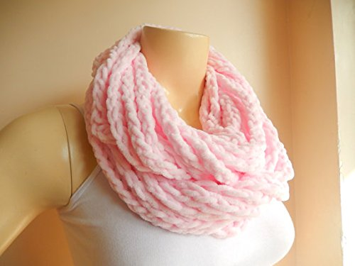 Pale Pink Infinity Scarf-chenille Handmade Loop Scarf -Fringe Knitted Infinity Scarf-extra Long Chenille Loop Fringe