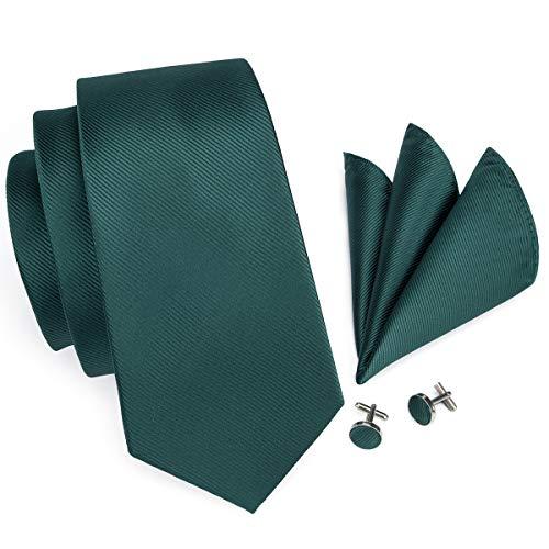 Hi-Tie Dark Green Woven Silk Tie Necktie Handkerchief Cufflinks Set for Men