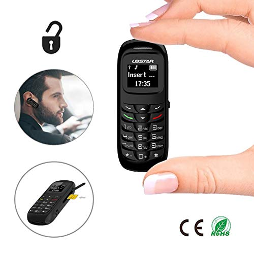 Unlocked Bluetooth Mini Mobile Phones-BM70 GSM Bluetooth Handset Phone Earphone Dialer Support Nano SIM Card 0.66inch(Black)