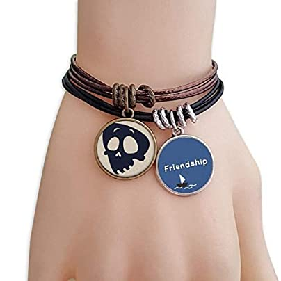 Helpless Emoji Halloween Skull Friendship Bracelet Leather Rope Wristband Couple Set Estimated Price -