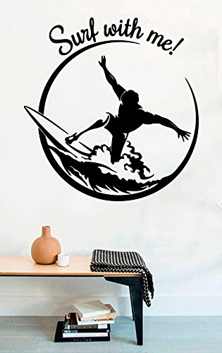 FSDS Vinyl Wall Decal - Surf with Me Decal Surf Wave Surfboard Ocean Sea - Home Decor Sticker Vinyl Decals