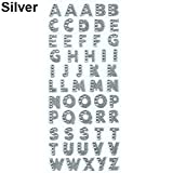 Baost 1 Sheet Self-adhesive Glitter Alphabet Letter Rhinestone Stickers A-Z Words Decorative Scrapbook Stickers Embellishments for Kid Craft, Greeting Cards, Photo Album Silver
