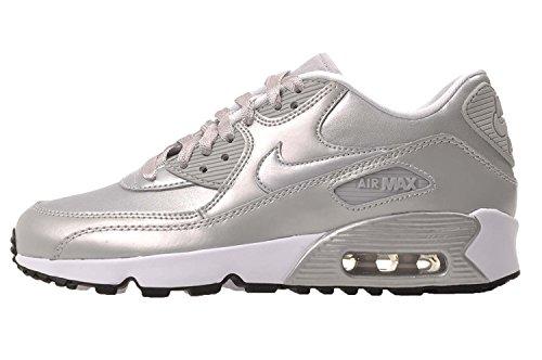 Nike Big Kids Air Max 90 Leren Hardloopschoenen, Lichtgewicht, Comfortabel En Duurzaam Volnerf En Synthetisch Leer Metallic Platina / Metallic Platina