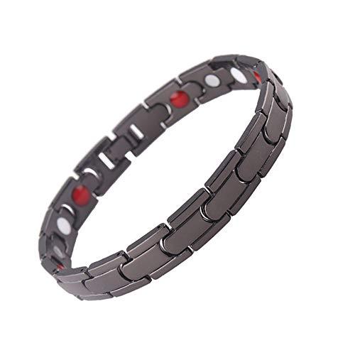 - Rando Mens Womens Magnetic Therapy Health Bracelets Titanium Stainless Steel Black Plated Clasp Positive Energy Power Elements Germanium Hematite Arthritis Pain Relief Bangles (Black)