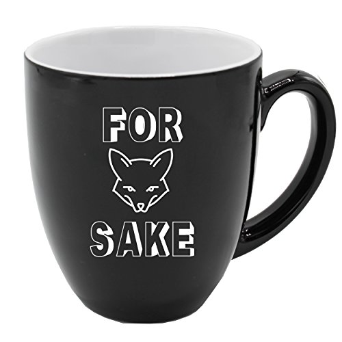 The Wedding Party Store Ceramic Latte Mugs With Fun Sayings for Guys and Girls - Funny Hilarious Coffee Gift Mug (Black, For Fox Sake - 16 -