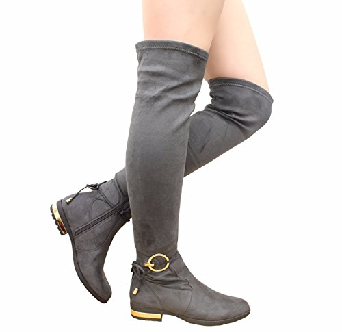 3 SAUTE 8 Over Size STYLES Heel Ladies High Thigh The Boots Knee GREY Shoes Womens NEW Block Long Tie Back TITawqr